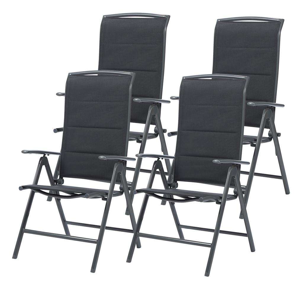 Détails sur 4 Set en Aluminium Chaise de Jardin Dossier Haut Pliante  Camping Longue Gris
