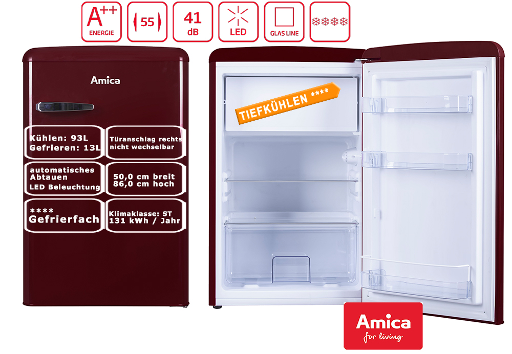 Retro Kühlschrank Rot : Amica retro kühlschrank rot a l gefrierfach bürokühlschrank