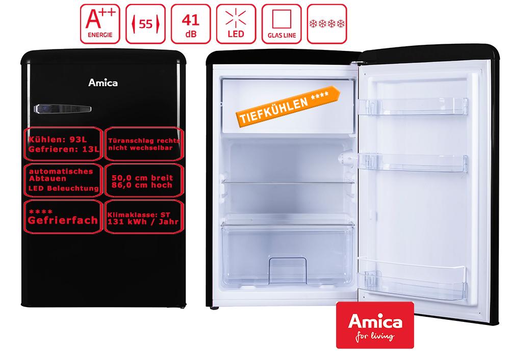 Amica Kühlschrank Mit Gefrierfach : Amica retro kühlschrank schwarz a l gefrierfach ks s ebay