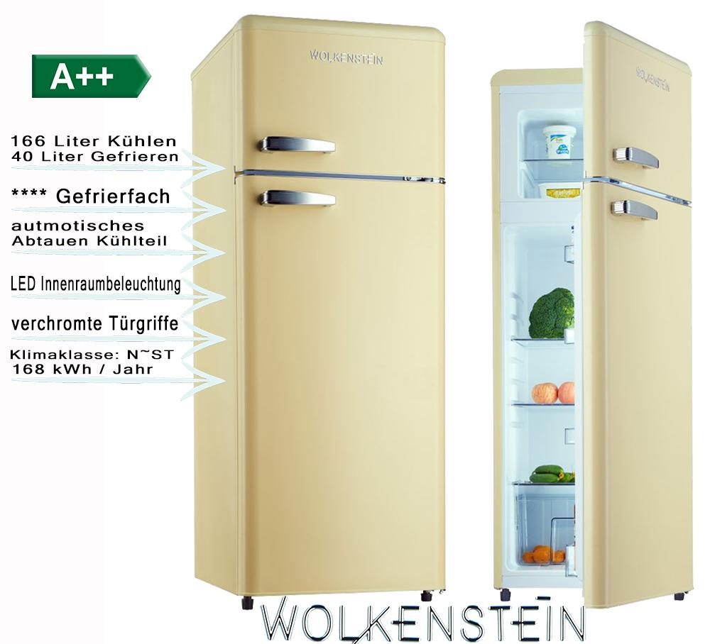 Retro Kühlschrank Creme Glanz A++ Kühl- Gefrierkombi Wolkenstein ...