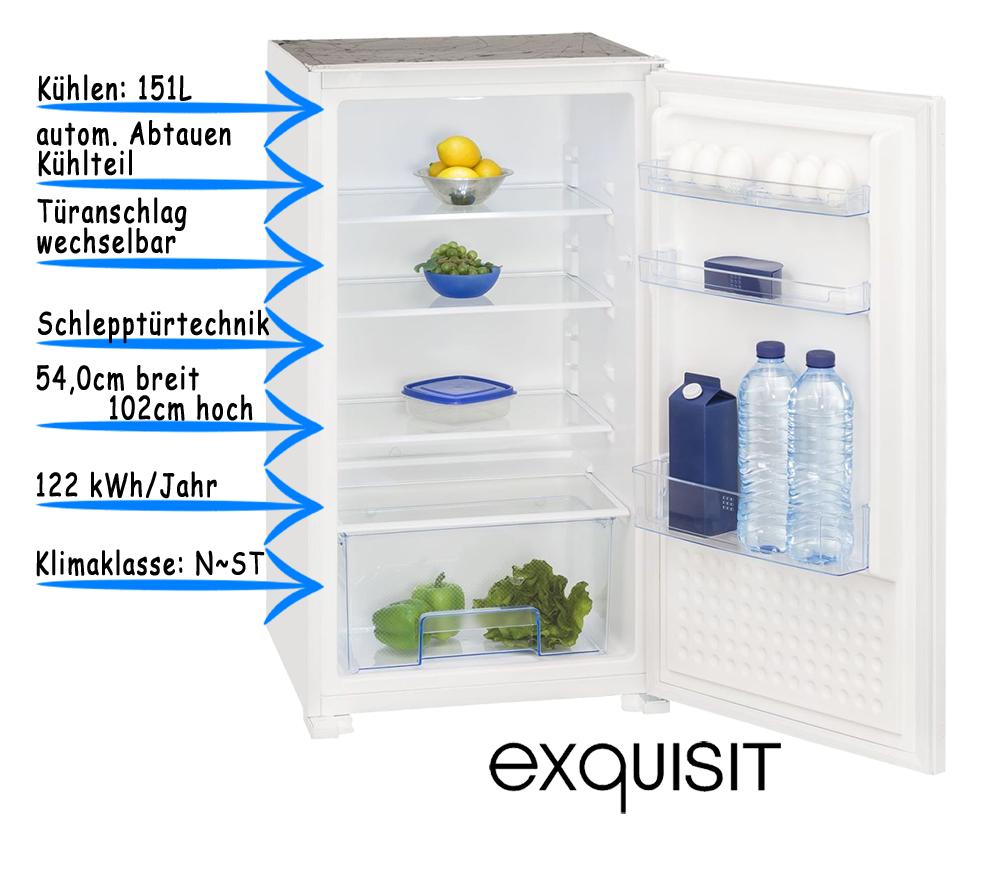 Einbaukühlschrank Vollraum 102cm A 151 Liter Kühlschrank Schlepptür