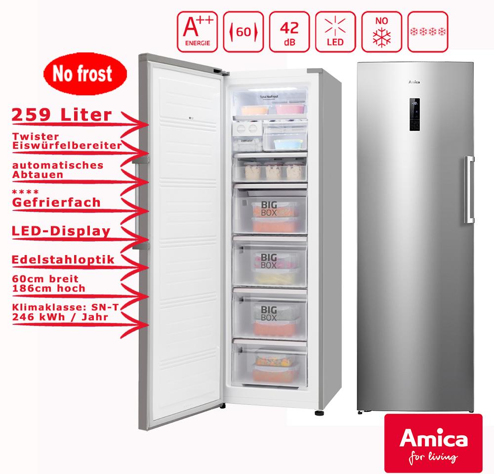 Amica XL Gefrierschrank NoFrost A++ 259L Edelstahloptik 185,5cm hoch ...