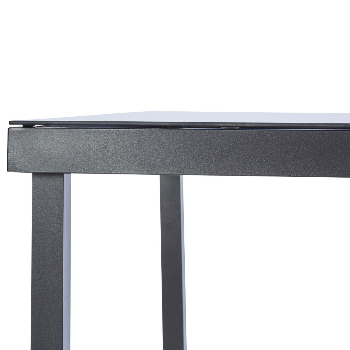 Table de Jardin à Manger Plaque de Verre Gris Foncé Aluminium Cadre ...