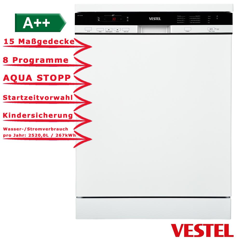 Vestel Geschirrspuler 60cm Aquastopp 15 Massgedecke Weiss A