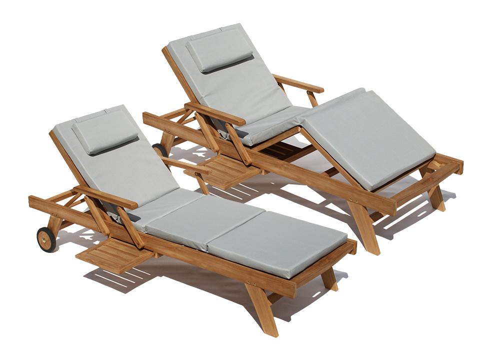 teak holz liege gartenliege sonnenliege 2 stueck auflage hellgrau4 taupe ebay. Black Bedroom Furniture Sets. Home Design Ideas