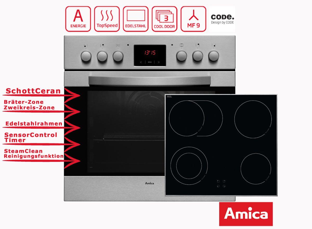 Amica einbauherd set mit umluft grill schott ceran und timer ebay for Einbauherd mit ceran
