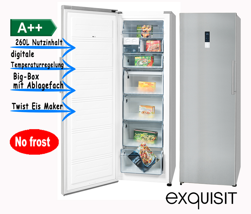 exquisit gefrierschrank eisschrank no frost led 260l 188cm a inox ebay. Black Bedroom Furniture Sets. Home Design Ideas