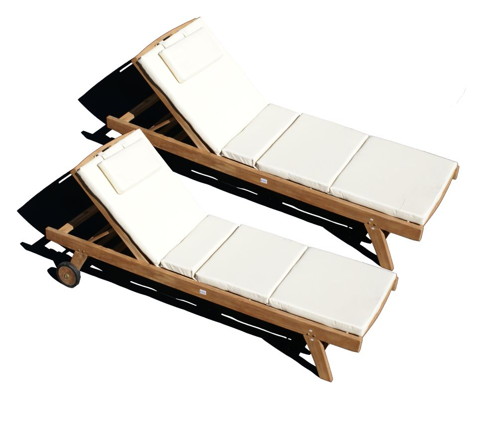 teakholz liege gartenliege sonnenliege 2 st ck mit auflage creme 4 ebay. Black Bedroom Furniture Sets. Home Design Ideas