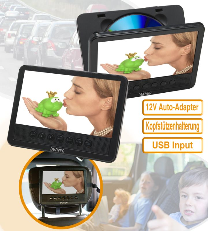 voiture lecteur dvd double 2 x 7 zoll 18cm lcd usb sd lecteur de carte. Black Bedroom Furniture Sets. Home Design Ideas