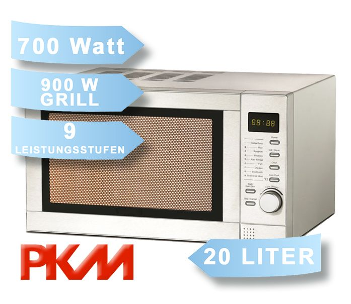 mikrowelle edelstahl mit grill 700 900 watt pkm mw700 20g ebay. Black Bedroom Furniture Sets. Home Design Ideas