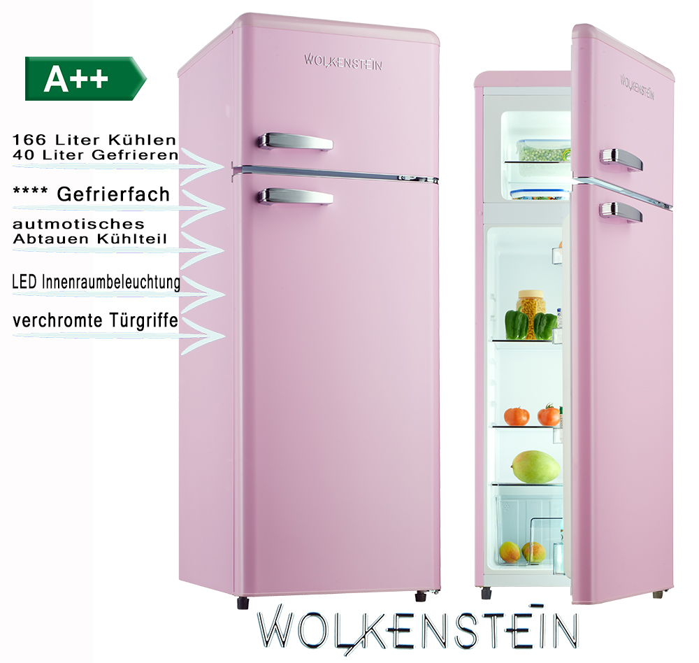 retro k hlschrank pink glanz a k hl gefrierkombi wolkenstein ebay. Black Bedroom Furniture Sets. Home Design Ideas