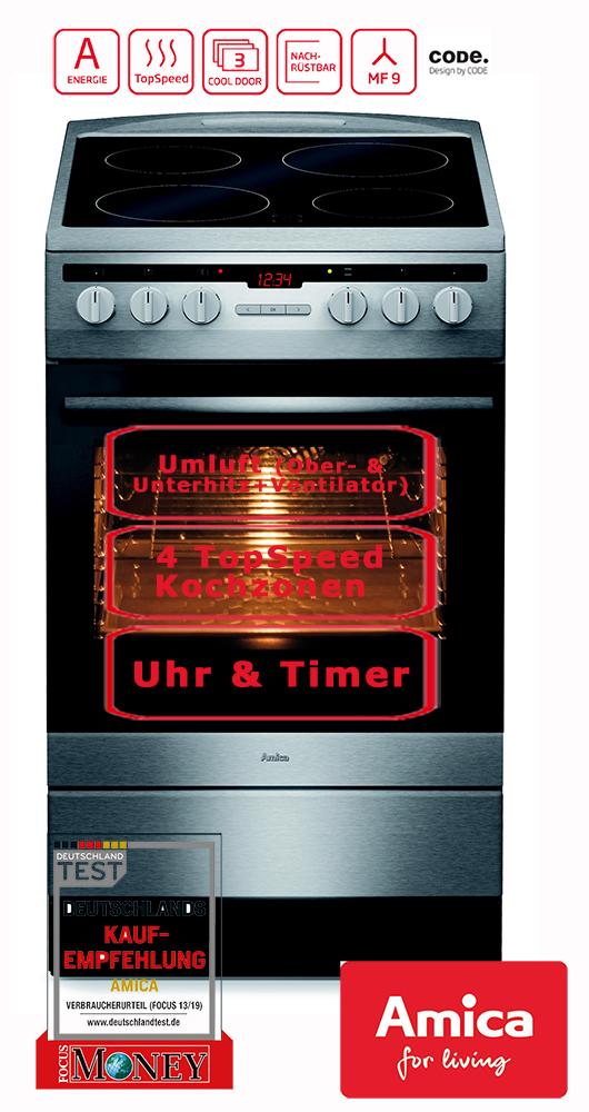 elektro standherd 50 cm edelstahl umluft timer grill amica shc11579e 4040729115803 ebay. Black Bedroom Furniture Sets. Home Design Ideas